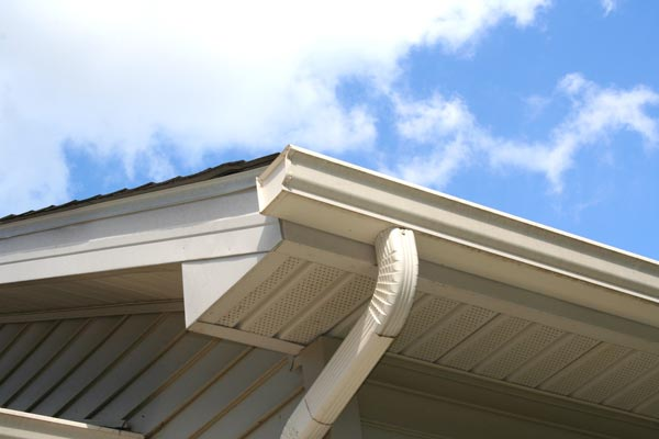 Image of a home gutter and downspout.